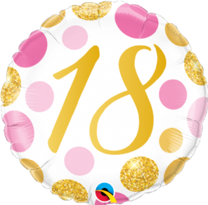 18th Gold & Pink Dots Foil Balloon